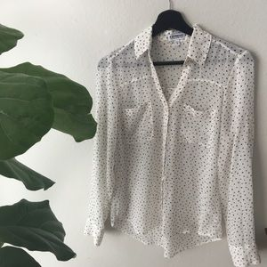 EXPRESS star ⭐️ sheer tiny star button up blouse